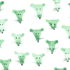 Mint mice - watercolor mouse print for kids, nursery