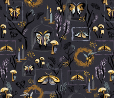 Inky Gothic Halloween Moths // Creepy Candles, Insects, Butterflies, Mushrooms, Botanicals, Branches, Fall, Wings, Garden, Black, Gray, Glass, Cloche, Bell, Jars, Textured // © ZirkusDesign