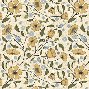 Yellow fairy flowers pattern