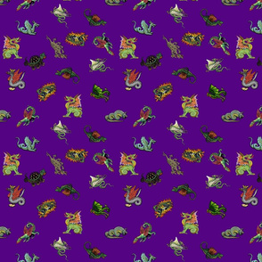 Medieval Dragons and Monsters Small - Purple