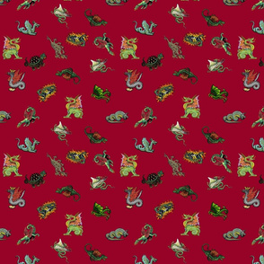 Medieval Dragons and Monsters Small - Red