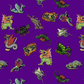 Medieval Dragons and Monsters - Purple