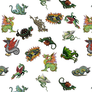 Medieval Dragons and Monsters - white