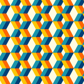 Retro 3D wallpaper design colorful diamonds columns teal, orange Fabric