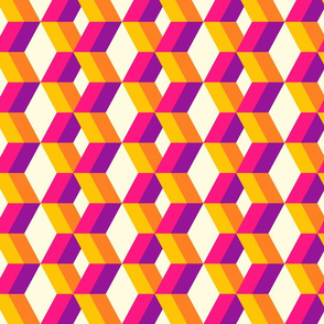 Colorful 3D diamonds columns retro orange, pink Wallpaper Fabric