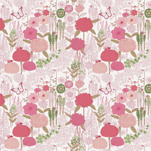 Bee Garden White pink green