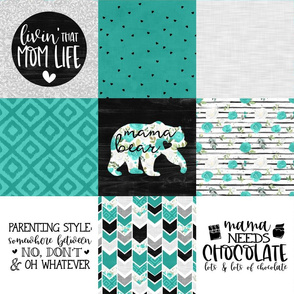 MomLife//Turquoise//Chocolate - Wholecloth Cheater Quilt