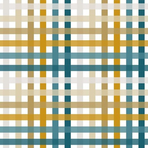 teal, mustard, and greige plaid
