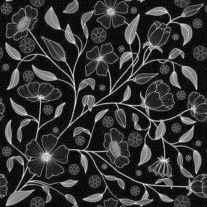 Black night floral pattern