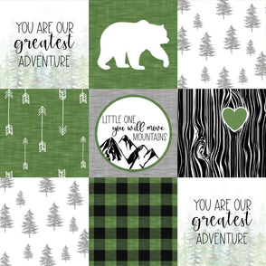 You are our Greatest Adventure//You will Move Moutains//Green - Wholecloth Cheater Quilt