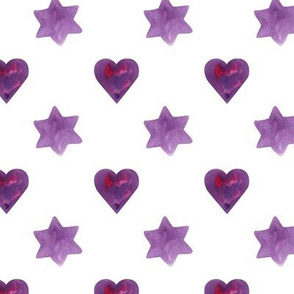 Purple hearts and stars on white