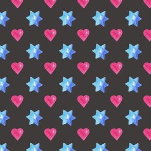 Blue stars & pink hearts Dark