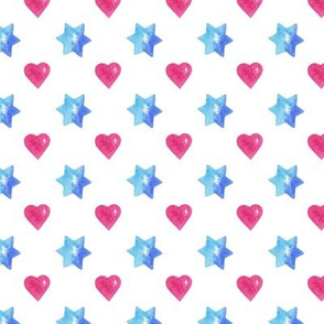 Blue stars & Pink heart White
