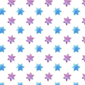 Blue and Pink stars on White