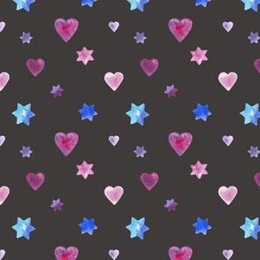 Hearts and stars on Dark