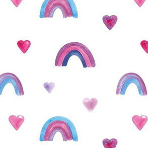 Rainbows and hearts on White