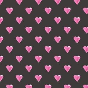 Pink hearts on Dark