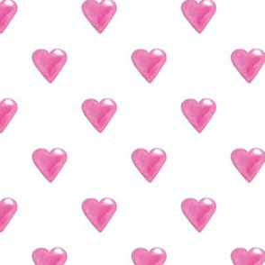 Pink watercolor hearts on White