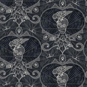 Gothic Lace - Skulls - Black