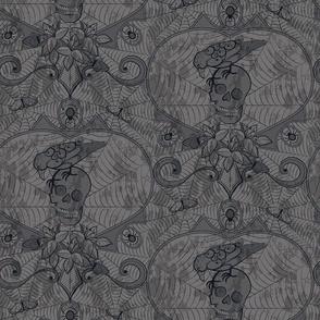 Gothic Lace-Skulls-grey