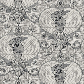 Gothic Lace - Skulls - light grey