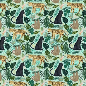 Emerald Forest Animals on Mint Green - Tiny
