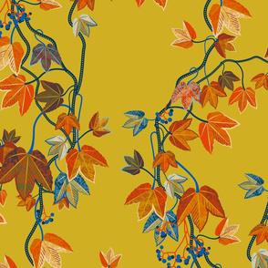 Autumn Vines-no birds-mustard