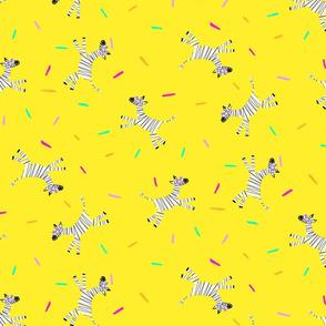 Zebra Party on Yellow