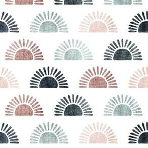 (small scale) sunshine - block print boho sun print - multi blue/mauve/pink - LAD20