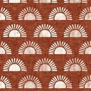 (small scale) sunshine - block print boho sun print - rust  - LAD20