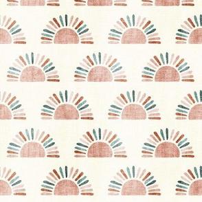 (small scale) sunshine - block print boho sun print - dusty pink/blue/teracotta - LAD20