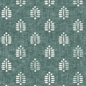 (small scale) fern - block print fern on dark jade  - LAD20