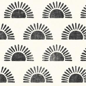 sunshine - block print boho sun print - charcoal - LAD20