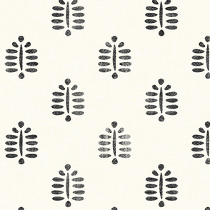 fern - block print fern in charcoal - LAD20