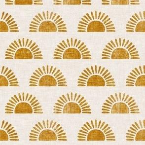 (small scale) sunshine - block print boho sun print - golden - LAD20