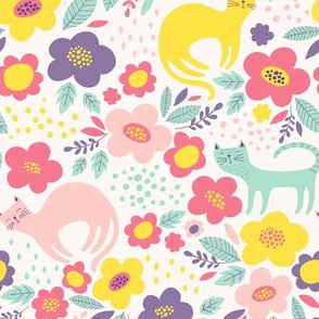 Cats and Flowers Cute colorful Pattern