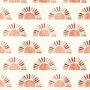 (small scale) sunshine - block print boho sun print - multi colored suns terra cotta - LAD20