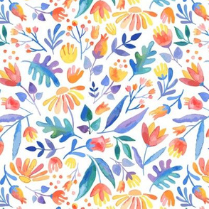Colorful watercolor Floral Pattern in Folk Style