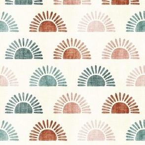 (small scale) sunshine - block print boho sun print - multi  terra cotta jade pink - LAD20