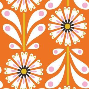 Retro Flower Large Scale Orange
