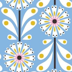 Retro Flower Large Scale Pale Blue