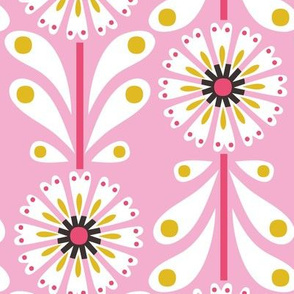 Retro Flower Large Scale Pink