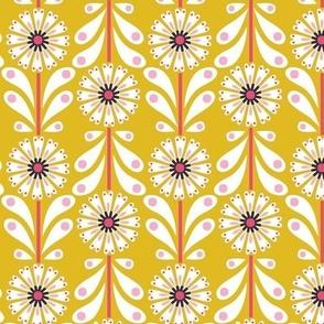 Retro Flower small scale Mustard
