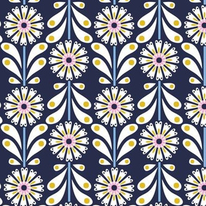 Retro Flower small scale Navy