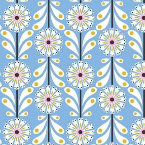 Retro Flower small scale Pale Blue