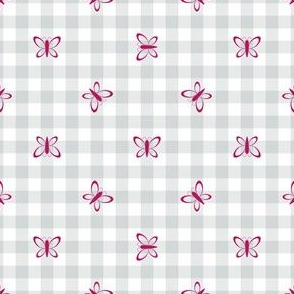 Butterfly Gingham in Gray and Dark Pink Paducaru