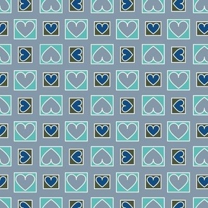 Boxes of Hearts in Slate, Mint, Blue and Green Paducaru