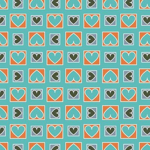 Boxes of Hearts in Mint, Orange and Blue Paducaru