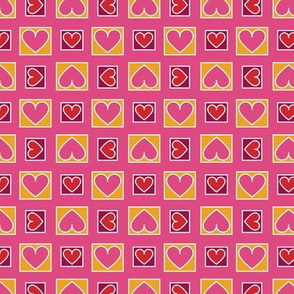 Boxes of Hearts in Saffron, Pink, Burgundy and Red Paducaru