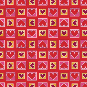 Boxes of Hearts in Red, Pink and Saffron Paducaru